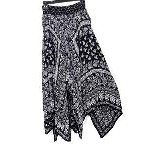 Bila Skirt Gypsy Handkerchief Hem Black White Sz S